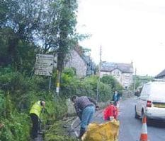 people clearing branches on side of road in Beer