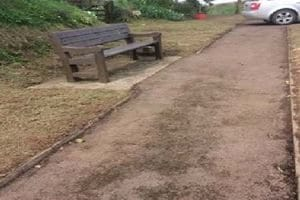 Bench off of path at North Tawton