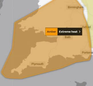 South West England extreme heat map