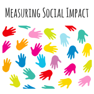 Image of coloured hands going around in a circle with the title 'Measuring Social Impact'