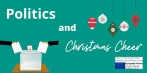 Image with title 'Politics and Christmas Cheer featuring baubles and ballot box