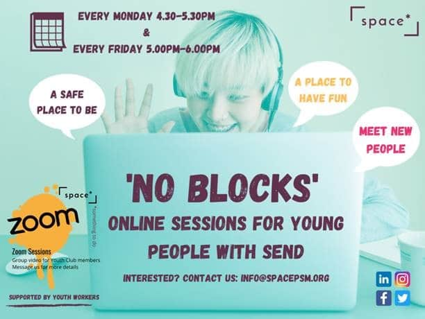 a poster for Space's No Blocks sessions