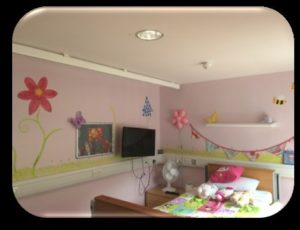young persons bedroom with mounted tv, bed and bedside table, floral design on the wall