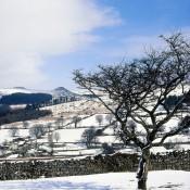 snow over dartmoor landscape