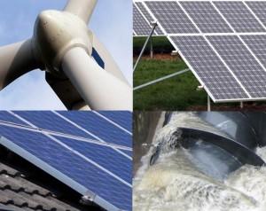 close-up images of: wind turbine; solar panel on grass; solar panel on roof tiles; water turbine