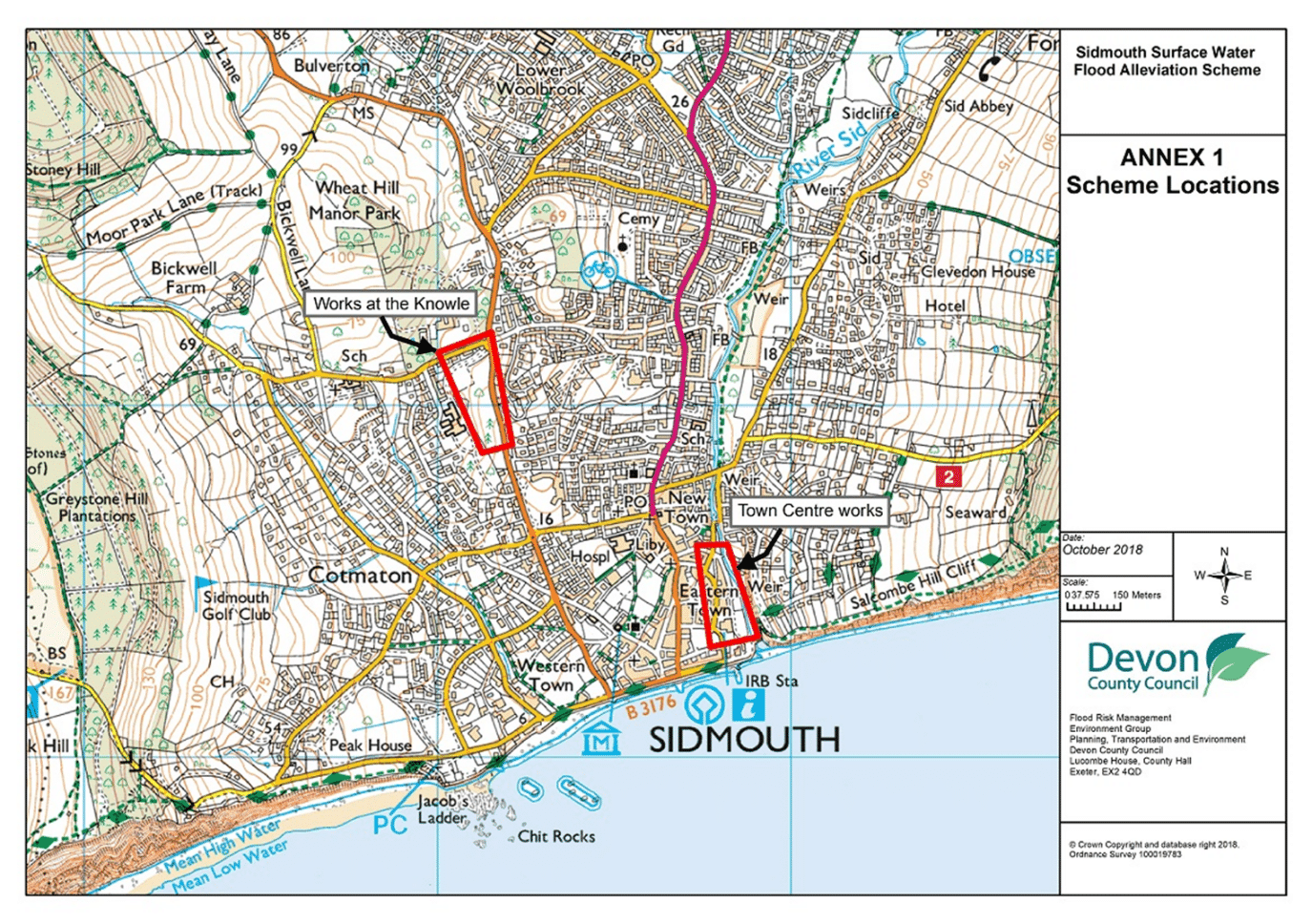 Map showing location of works within Sidmouth