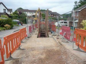 Construction work at Ivybridge Flood Scheme