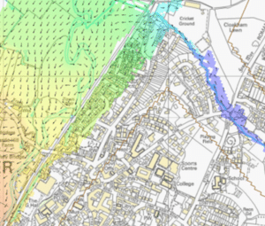 Map showing Axminster 1 in 100-year flood model