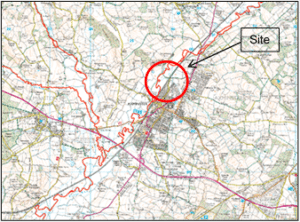 Map showing location of Axminster flood scheme