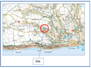 Map showing location of Branscombe site