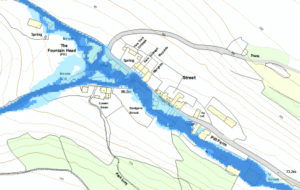 Map showing Branscombe flooding
