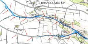 Map showing Branscombe flow paths