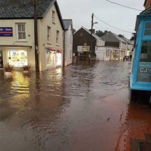 Photo showing flooding in Braunton December 2012
