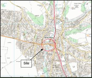 Map showing the location of Braunton flood scheme location