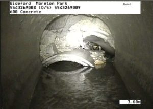 Photo showing CCTV image of Collapsed culvert