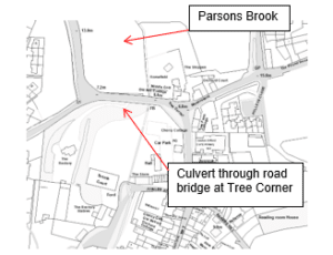 Map showing the culvert and Parsons Brook