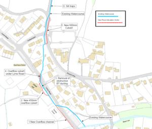 Map showing plans for Uplyme flood alleviation scheme