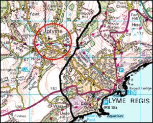 Map showing location of Uplyme flood scheme location
