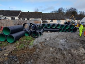 Photo showing material for new culvert