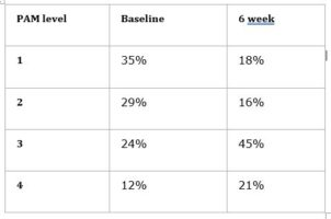 Table showing Measures (using the Patient Activation Measure or PAM) taken at the start of the programme and at six weeks