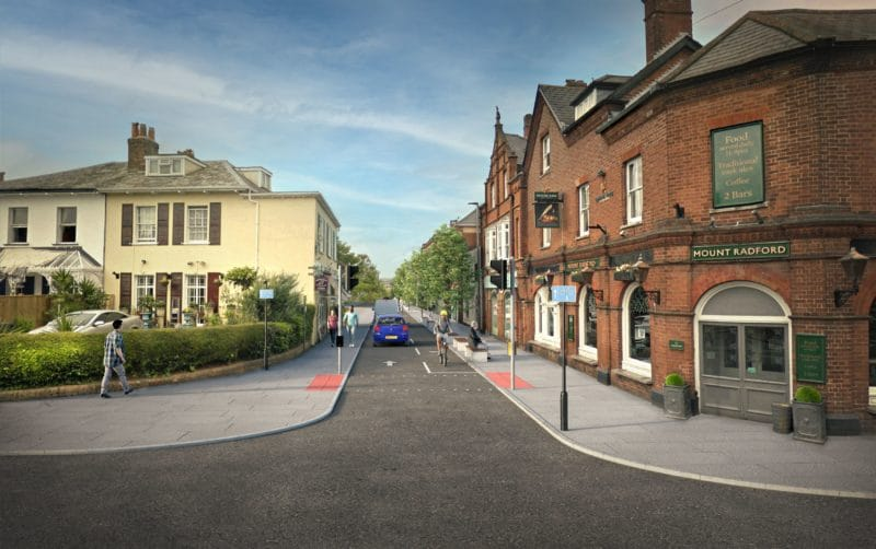 A computer-generated visualisation of the Magdalen Road consultation option 1