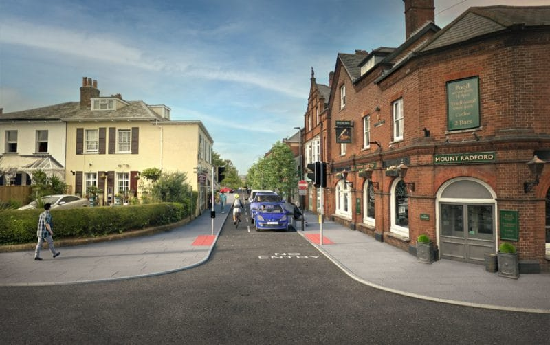 A computer-generated visualisation of the Magdalen Road consultation option 2a