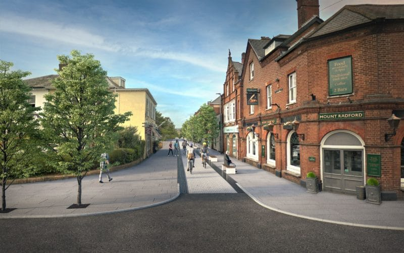 A computer-generated visualisation of the Magdalen Road consultation option 3