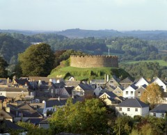 Totnes town and Norman castle. Photo: Reproduced by kind permission of English Heritage.