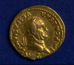 Gold aureus of the Emperor Vespasian, found in Exeter. Photo: Reproduced by kind permission of the Royal Albert Memorial Museum & Art Gallery, Exeter.