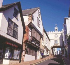 Totnes Fore Street and Eastgate. Photo: Devon County Council.