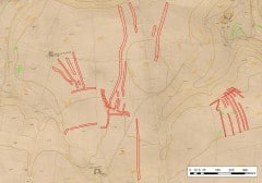 Is this Middle Mullacott Farm? NMP transcription overlain on the 1840 Tithe Map for Ilfracombe and OS Contour data. NMP mapping © English Heritage. Contour data © Crown Copyright and database right 2013. Ordnance Survey 100019783.