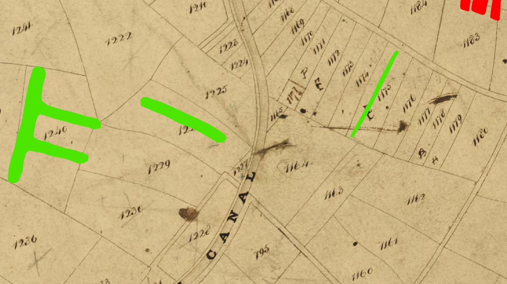 Curvilinear green conjoined lines depict the earthwork ditches, fitting into the pattern of fields shown on the underlying scan of a tithe map.
