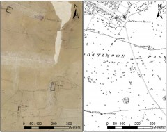 Two farmsteads at Poltimore in the mid-19th century, no longer depicted after the area was emparked by the late-19th century. Tithe Map: Devon County Council Digital Mosaic. © Devon County Council. First edition Ordnance Survey 25 inch map © Crown copyright and Landmark Information Group Ltd.