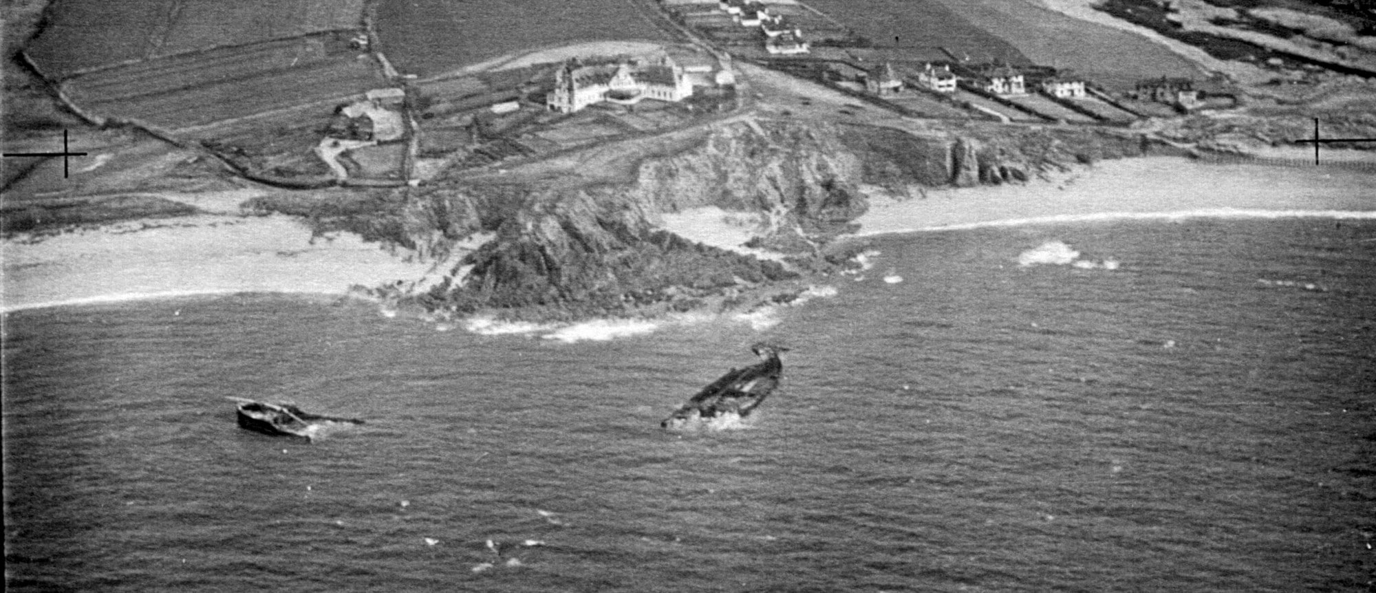 The Wreck of the Louis Sheid three years after it was wrecked off Thurlestone Sand. SX 6742/4 MSO 31279/PO-3092 12-FEB-1942. Historic England (RAF Photography).