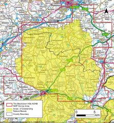 A colour map showing the extent of the project area encompassing most of the AONB with additional areas to the north-east and south-west.
