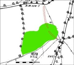 A black and white historic map showing field boundaries, trackways, roads and trees, overlain by a red curvilinear transcription of a bank, which is partly overlapped by an irregular green area, which is a transcription of a large pit.
