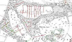 A black and white historic map showing a large field north of Widworthy Court, named Widworthy Park, within which is a series of curvilinear red transcriptions.
