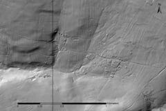 Greyscale lidar imagery showing extensive areas of parallel, curvilinear ridges.