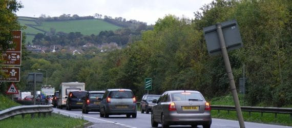 Vehicles queuing on the North Devon Link Road
