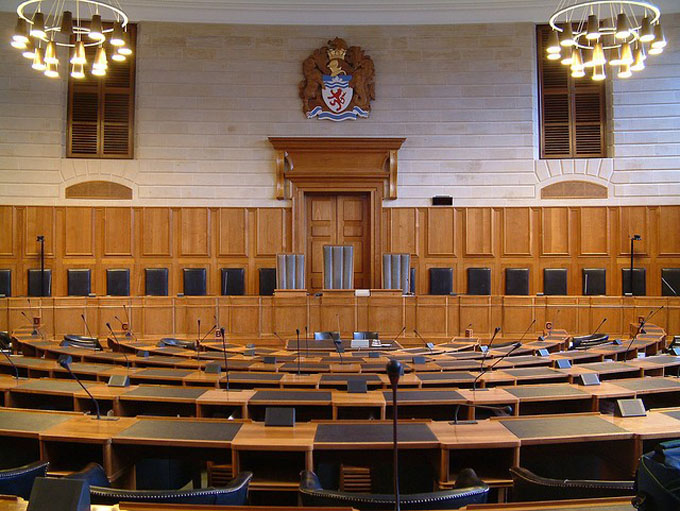 view of the Council Chamber at County Hall, Exeter