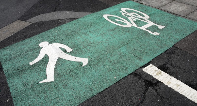 Photo of a shared pedestrian and cycle path