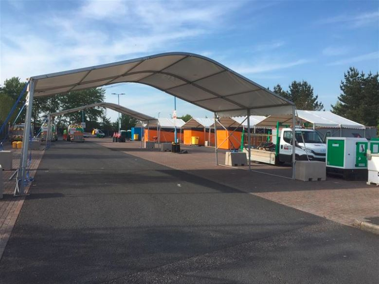 drive through testing facility at Honiton Road Park and Ride site Exeter
