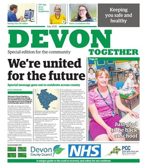 front page of the new newspaper, 'Devon Together'