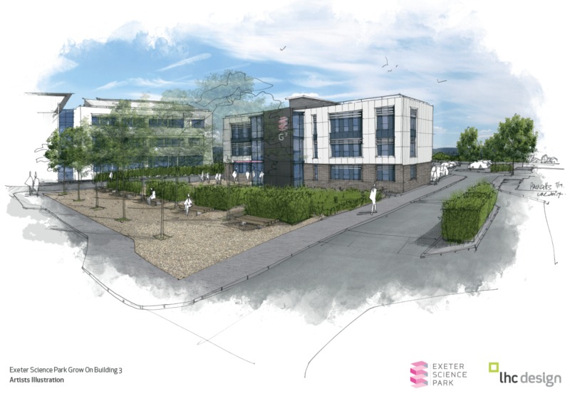 Artist illustration of the Exeter Science Park Grow On Building