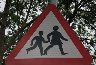 Photo of a schoolchildren sign