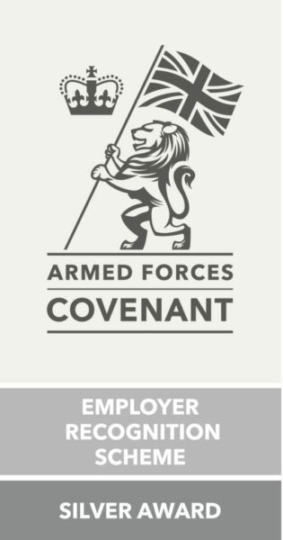 Logo of Armed Forces Convenent and text of silver award