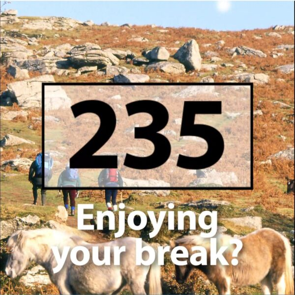 still image from the social media video. Image says 'Enjoying your break?'
