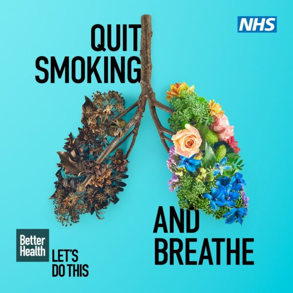image of some lungs with flowers. Text reads Quit smoking and breathe