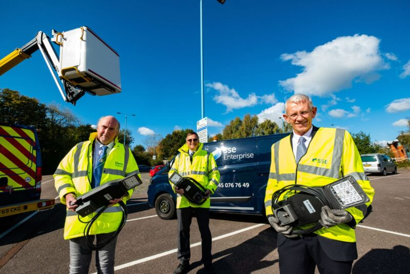 Photo of County Council and SSE representatives with LED streetlights