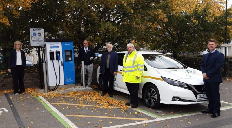Councillors at Chudleigh Library carparks Electric Vehicle charging points